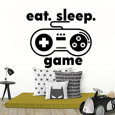 supmsds Game Player Niños Tatuajes de Pared Eat Sleep Game ...