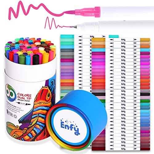 60 Colors Dual Tip Brush Marker Pens - Dual Brush Pens Set Art Brush Markers with Fine Tip and Highlighter for Adult Coloring Books Calligraphy Taking Notes Bullet Journal Drawing Art Projects by Enfy