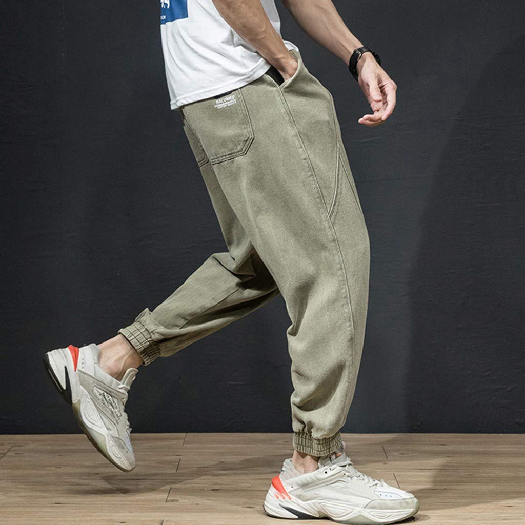 Lmx+3f Plus Size Mens Loose Fit Cargo Pants Fashion Multi-Pocket Overalls Casual Pure Colour Summer Trousers