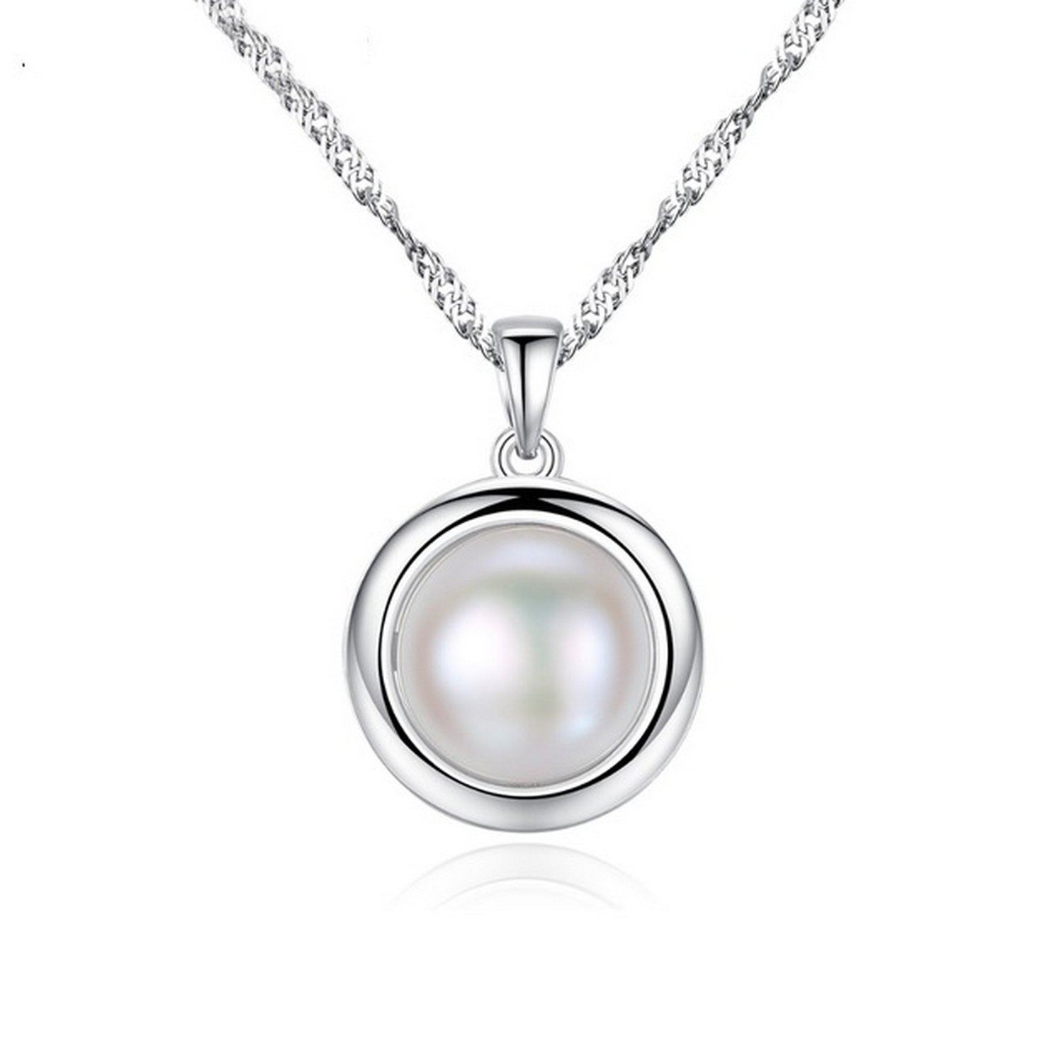 MMC Silver Pendants White Pearl Necklaces for Womens