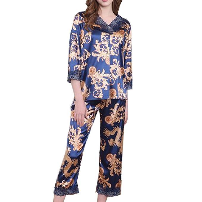 BOYANN Fénix Pijamas Oriental Mujer Primavera Otoño de Satén Ropa de Dormir Azul