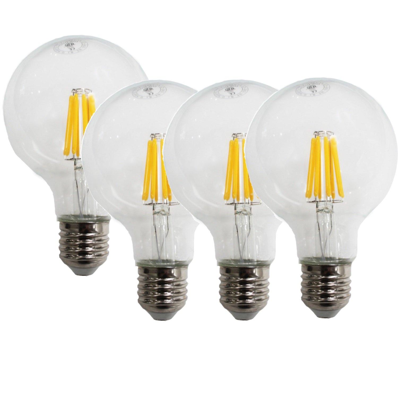 4 pcs Dukens LED Filament Bulb 8W Dimmable E26 Base 750 Lumen 60Watt Equivalent A19 Warm White