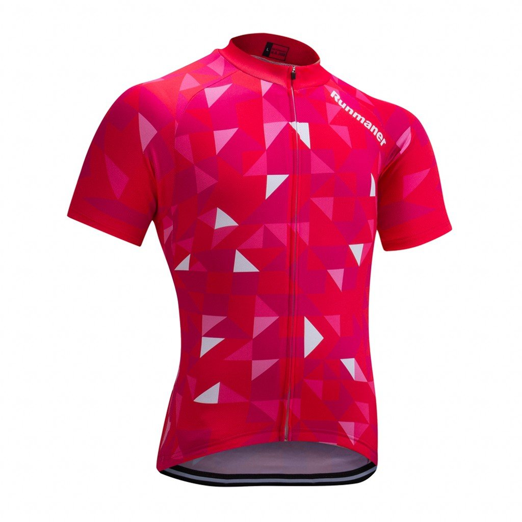 Red&white Chest 4446\ Runmaner Men's Cycling Jersey Short Sleeve Bike Clothing