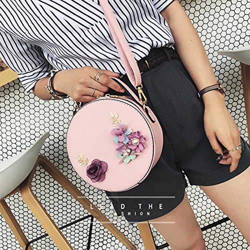 Hand Pink Small Handbags Fashion Bag Black Cikuso rotondo Tote Leather Women Fiore Shoulder f7wUxzRaXq