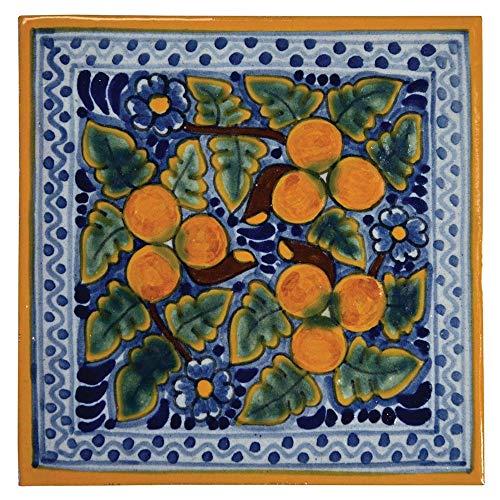 "Hand-Painted Ceramic Talavera Tile Trivets 6""x6"" - Peaches (Set of 2) Spanish Mediterranean Influence"