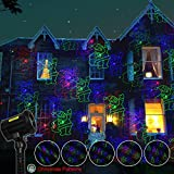 Poeland Garden Laser Lights Projector 18 Festive Designs for Christmas Halloween Blue Green Red 3 Color with Security Lock Remote Timer