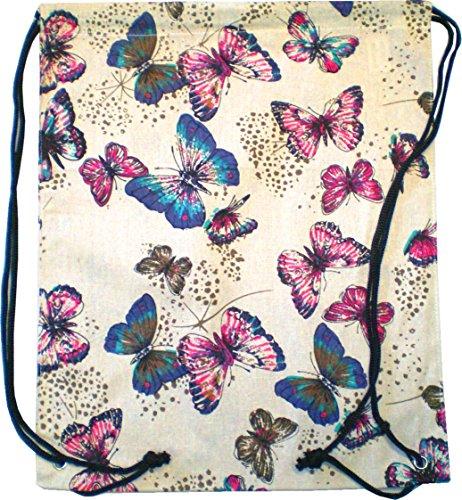 Sac Homme Sac à dos pour femme Sac Sac de gym Toile Marin Sacoche Plastique Pochette Enfant Sac Gym–Butterfly 4728