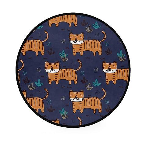 Alfombra redonda antideslizante de Tiger, color azul marino ...