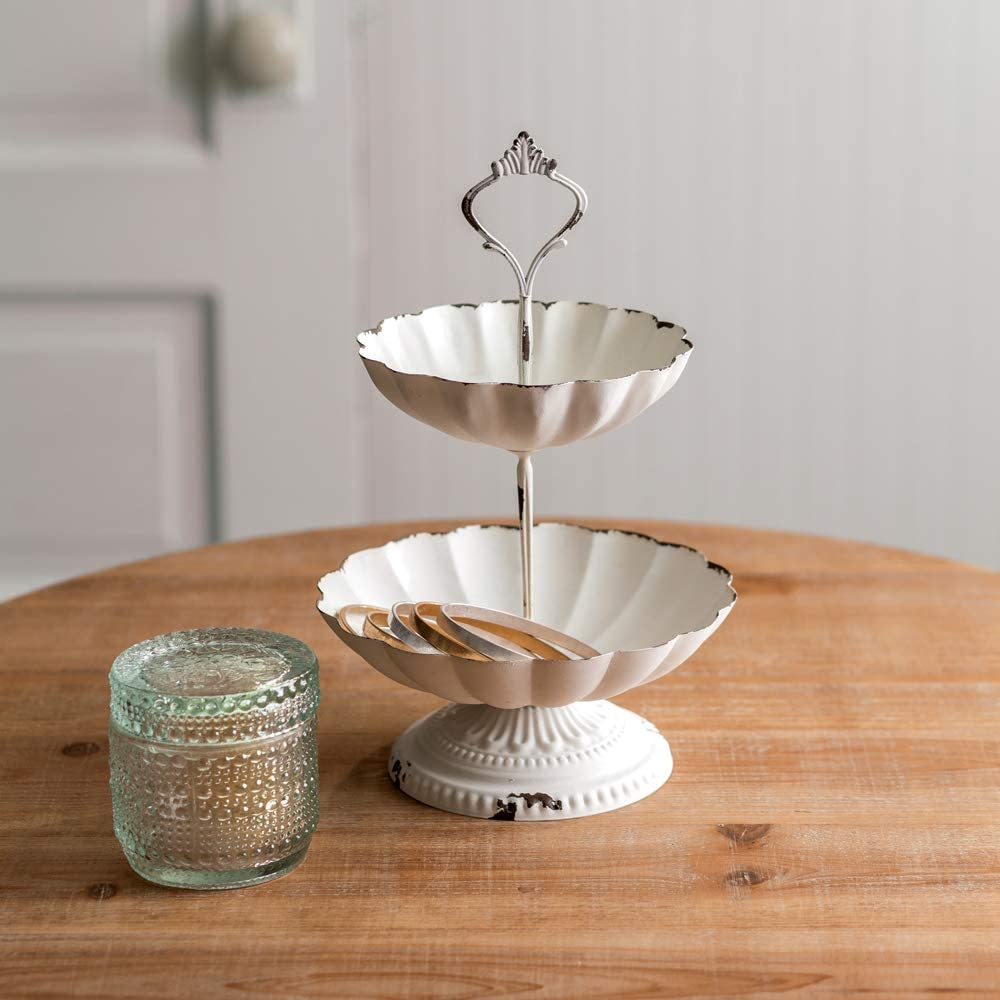 Mini 2 Tier Scalloped Metal Stand Tray Great for Jewelry Storage or Other Small Items - Can Be Used As Decor Vintage Farmhouse Chic (White)