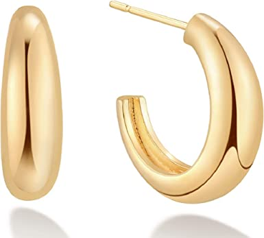 Dainty Gold Hoop Small Gold Fill Hoop Boho Charm Tiny Double Horn Gold Fill Hoop Boho Gold Hoop Charm Dangle Tiny Gold Double-Horn Charm