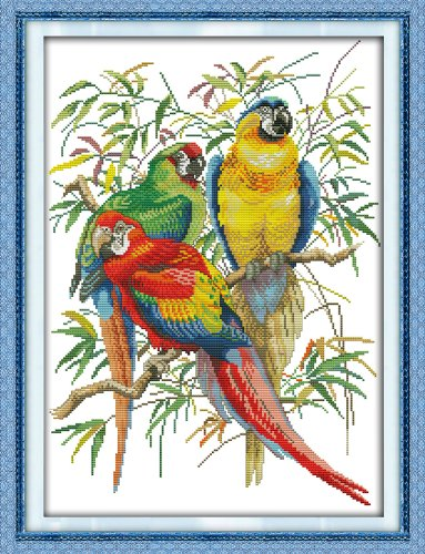 DIY Cross Stitch Stamped Kits for Home Decor 15''x 20.5'' - Colorfol Animal Cross-Stitching Needlecrafts Pattern, Scarlet Macaw ()