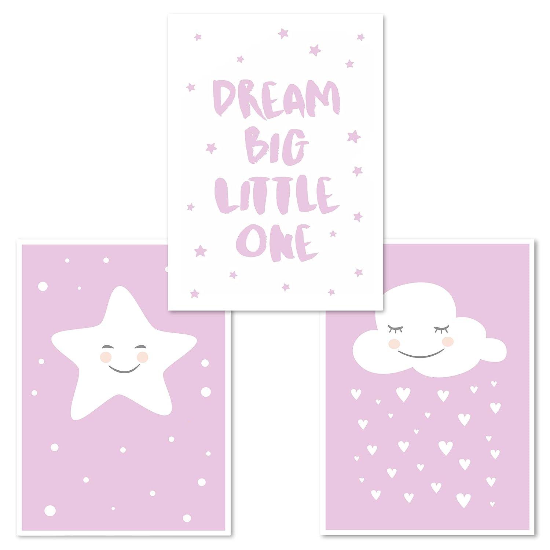 Babyzimmer Deko Kinderzimmer Poster Set 3 St/ück Junge Blau Stern, Dream Big Little One, Wolke DINA 4