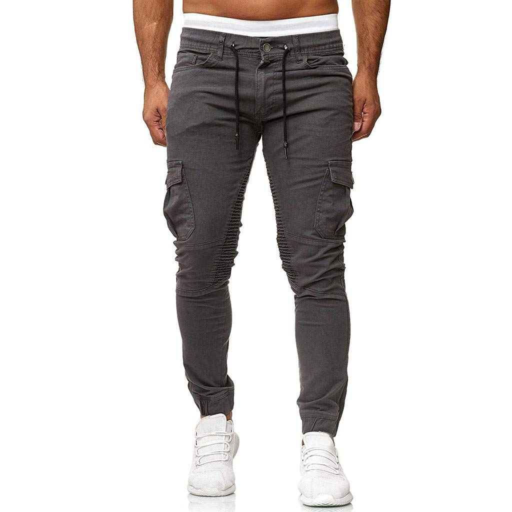 ANJUNIE Men's Joggers Slim Fit Cotton Running Pants Sports Pure Color Trousers Woven Stitching Feet Pants with Pocket(Drak Gray,XL)