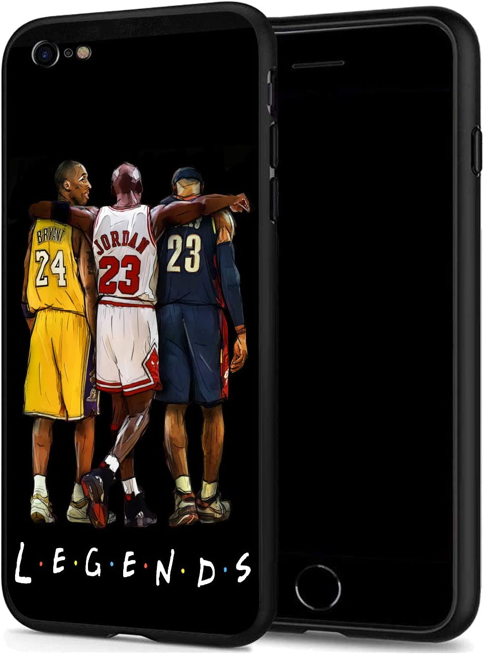 GONA iPhone SE 2020 Case/iPhone 8 /iPhone 7 Case for Basketball Fans, Soft Silicone Protective Thin Case Compatible with iPhone SE (Legends-Kobe-Jordan-Lebron)
