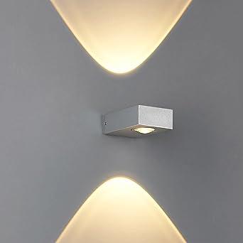 Exterior Impermeable Aleación de aluminio Vidrio bidireccional Iluminación LED Lámpara de pared Restaurante Pasillo Escalera Sala de estar Bar Balcón Jardín Decoración Pequeña lámpara de pared: Amazon.es: Iluminación