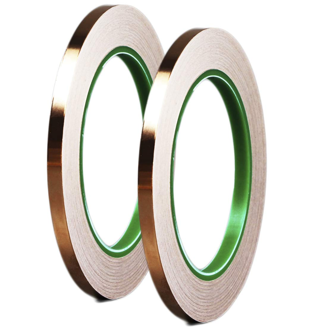 Dooppa 5mm x 50m Copper Foil Tape with Conductive Adhesive, for Art Work, Stained Glass, Electrical Repairs, Soldering, EMI Shielding, Grounding (2 Pack)