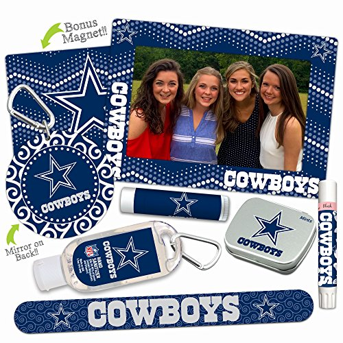 - Dallas Cowboys Deluxe Variety Set with Nail File, Mint Tin, Mini Mirror, Magnet Frame, Lip Shimmer, Lip Balm, Sanitizer. NFL gifts for women Mother's Day, Stocking Stuffers