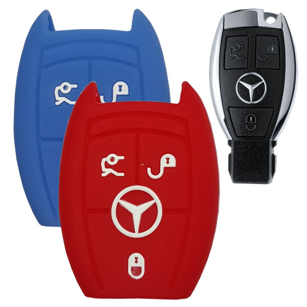 Blue//RED 2 Pieces # 17 Hanmin Motors Car Smart Key Case Silicone Rubber Fob Skin Protector Compatible with Benz C200 GLK 300 A C E S Class SLK CL