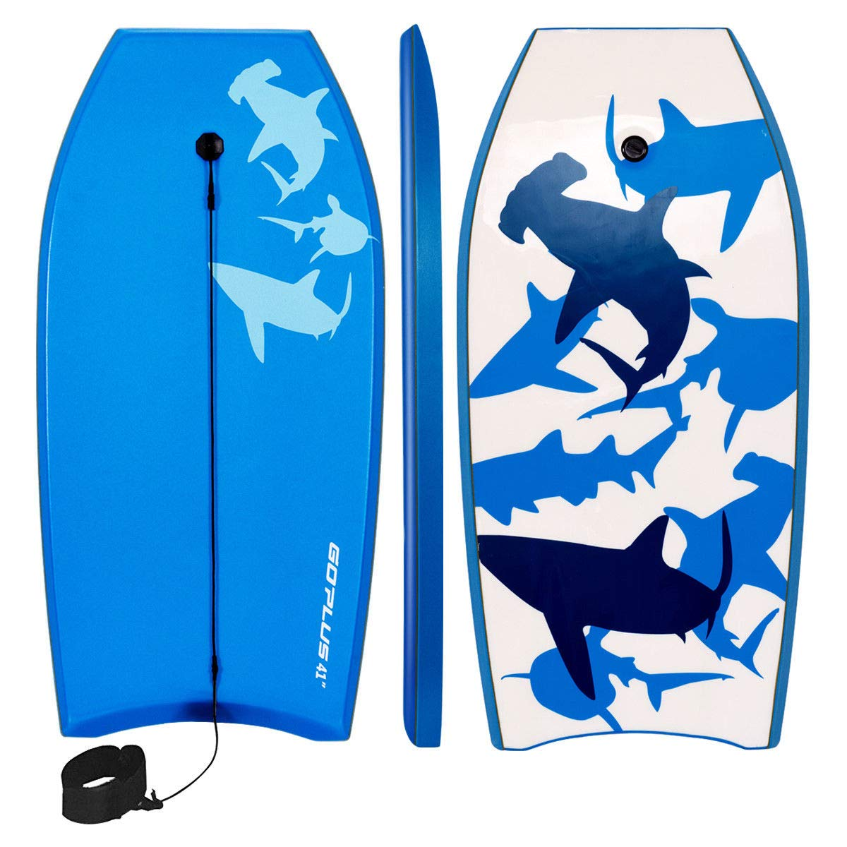 Goplus 41 inch Super Bodyboard Body Board EPS Core, IXPE Deck, HDPE Slick Bottom with Leash, Light Weight Perfect Surfing for Kids and Adults (Blue) by Goplus