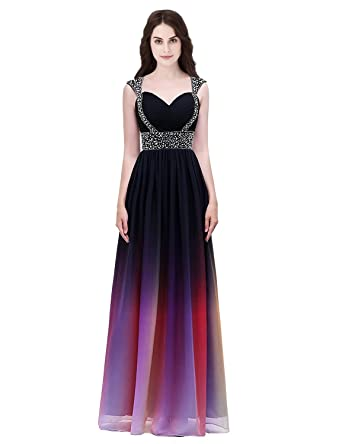 Clearbridal Women\'s Gradient Color Prom Dress 2018 Beaded Chiffon ...