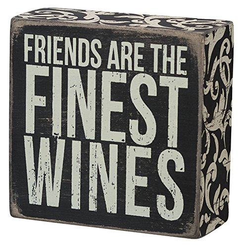 Primitives by Kathy Box Sign, 4 by 4-Inch, Finest Wines