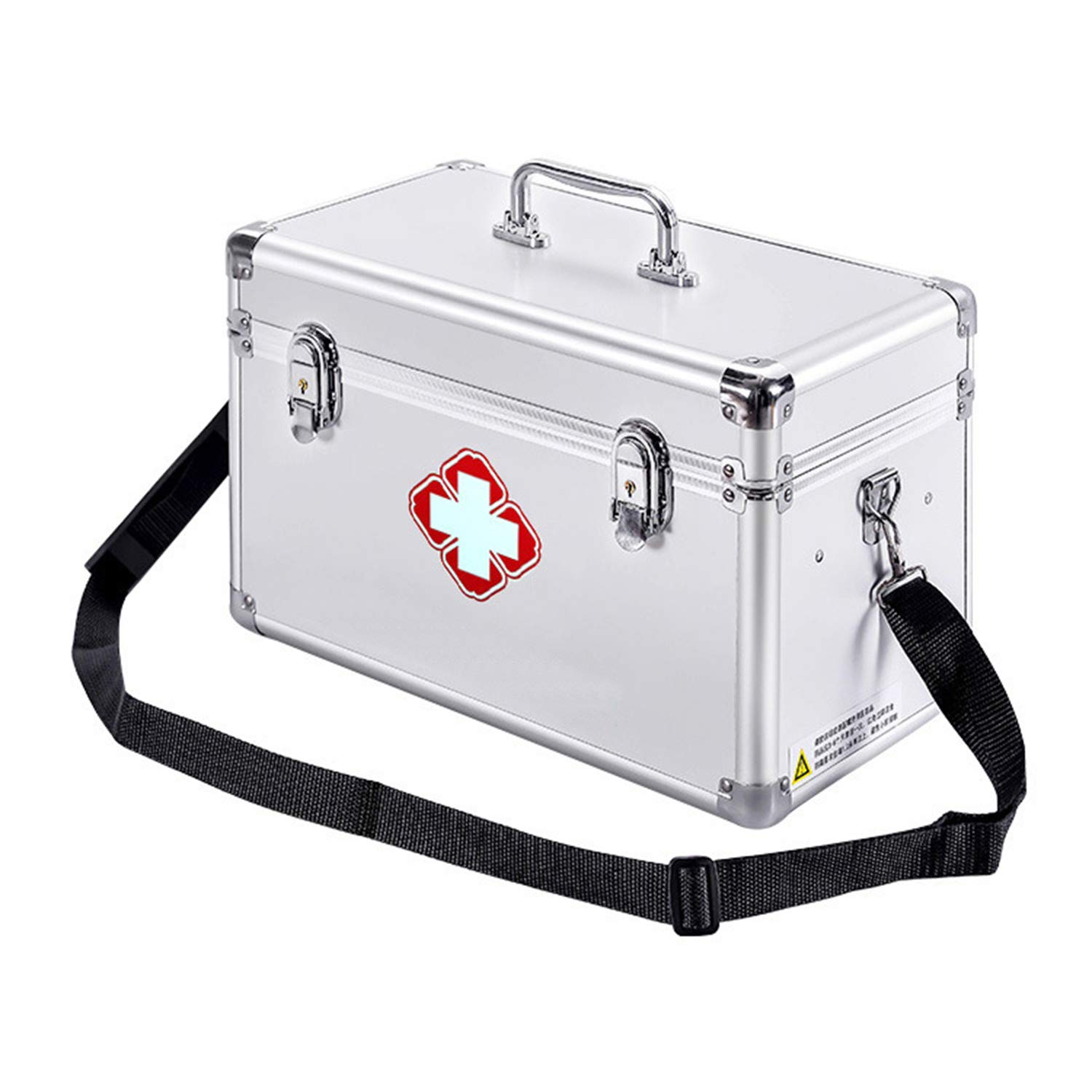 KDC Medicine Storage Box-Lock Medicine Cabinet-w/Shoulder Strap Medicine Compartments First Aid Box Medical Precription Storage Box 11.8 x 6.9 x 7.5 inches, Aluminum (Silver) by KDC