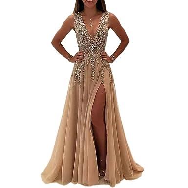 Ike Chimbandi Womens Champagne High Side Slit Prom Dresses V Neck Backless Evening Gowns