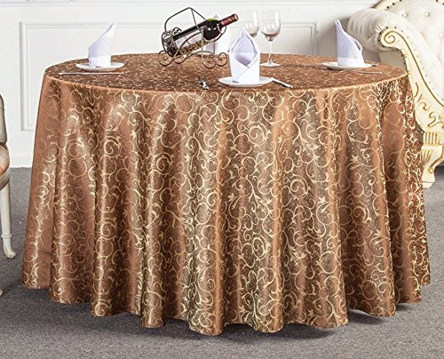 Luxury Damask Table (Uforme Classic Jacquard Floral Table Cloth Fabric Luxury Overlay Table Cover Round 70 Inch for Hotel, Light Coffee)