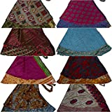 Wevez Two Layer Magic Wrap Around Skirt / Dress - Silk Sari Wrap, Assorted Color / Print 3 pack