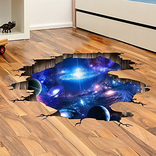 [Amaonm Creative 3D Blue Cosmic Galaxy Wall Decals Removable PVC Magic 3D Milky Way Outer Space Planet Window Wall Stickers Murals Wallpaper Decor for Home Walls Floor Ceiling Boys Room Kids Bedroom] (Design Wall Decor Murals)