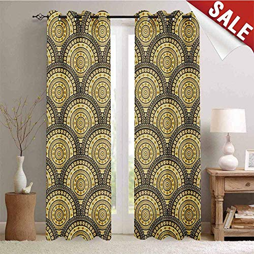 Hengshu Geometric Drapes for Living Room Arabesque Middle Eastern Lace Style Moroccan Ottoman Persian Floral Forms Window Curtain Fabric W84 x L84 Inch Sepia Gold Black ()