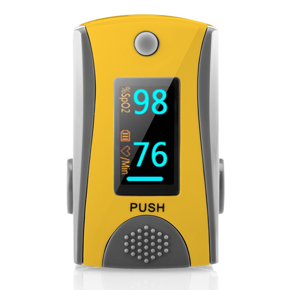 Fingertip Pulse Oximeter Oximetry Blood Oxygen Saturation Monitor with Carrying Batteries and Lanyard (Yellow) …