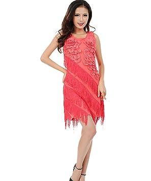 Mujer Carnaval Disfraces 20 Fiesta temática vestido de cóctel, color Hotpink, tamaño Fits weight
