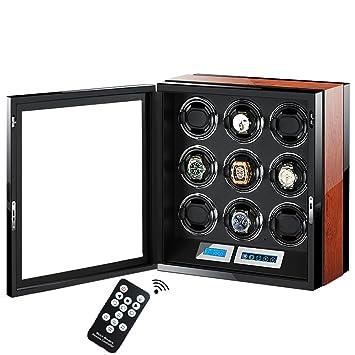 L.HPT® Lujo Madera Inteligente Cajas Para Relojes Watch Winder, Pantalla Táctil LCD + Cajas De Almacenamiento De Reloj Con 5 Tipos De Luces LED Watch Box: ...