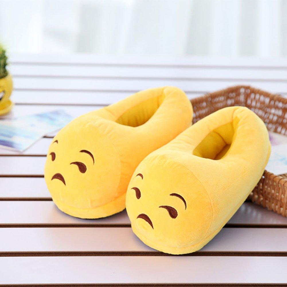 JUIOKK Cute Plush Emoji Slippers,Family Winter Warm Fluffy Shoes For Men Women Boy Girl