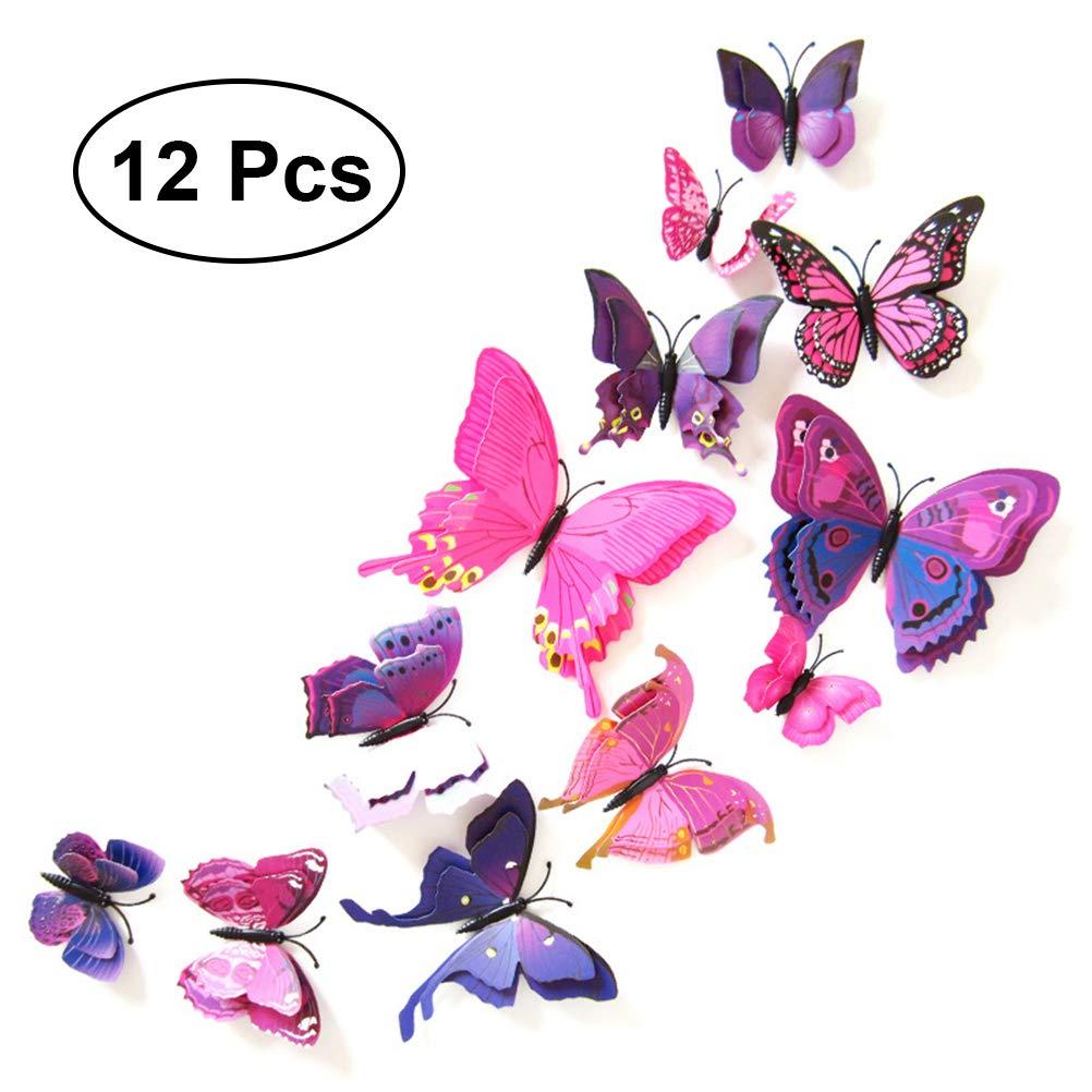 Calamite Frigo VORCOOL Magneti da Frigo Farfalle da Parete 3D Viola 12 Pezzi