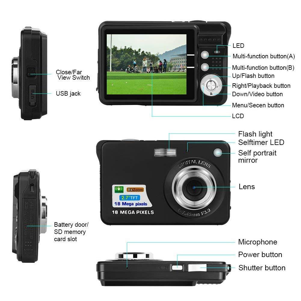 XuBa HDミニデジタルカメラ 2.7インチTFT液晶ディスプレイ付き ホームマクロカメラ   B07KF7S7SM