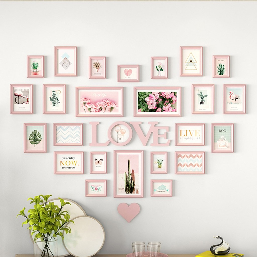 AXZPQ Wall Hanging Photo Frame Heart-shaped LOVE Collection Simple Modern Living Room Bedroom Picture Combination (Color : G) by AXZPQ