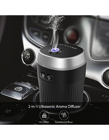dodocool Ambientador Humidificador Coche, Ultrasónico Aromaterapia Portatil, 7 Color LED, Diseñado para Portavasos