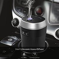 dodocool Ambientador Humidificador Coche, Ultrasónico Aromaterapia Portatil, 7 Color LED, Diseñado para Portavasos de Automóviles, Desarrollado por Encendedor de Cigarrillos