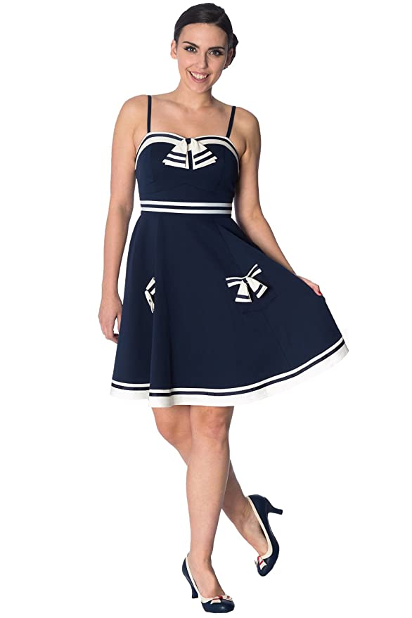 Sailor Dresses, Nautical Theme Dress, WW2 Dresses Banned Set Sail Strappy Vintage Retro Dress $53.09 AT vintagedancer.com