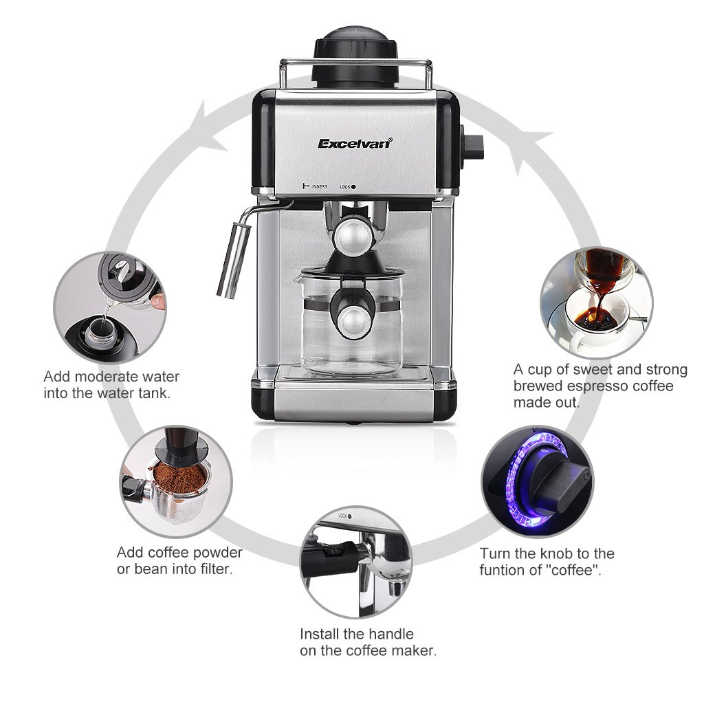 Excelvan 4 Cup Steam Espresso And Cappuccino Maker Stainless Steel Coffee Machine 800w 35bar 706 Pounds