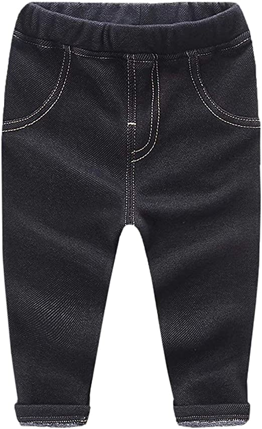 EMAOR Toddler Boys /& Girls Fleece Lined Faux Denim Jeans 12 Month 5Years