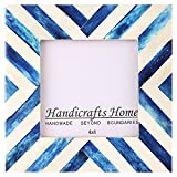Picture Frames Photo Frame Chevron Herringbone Vintage Wooden Handmade Naturals Bone Classic Size 4x4 Inch (Blue)