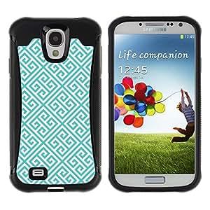Fuerte Suave TPU GEL Caso Carcasa de Protección Funda para Samsung Galaxy S4 I9500 / Business Style Links Pattern Green Wallpaper