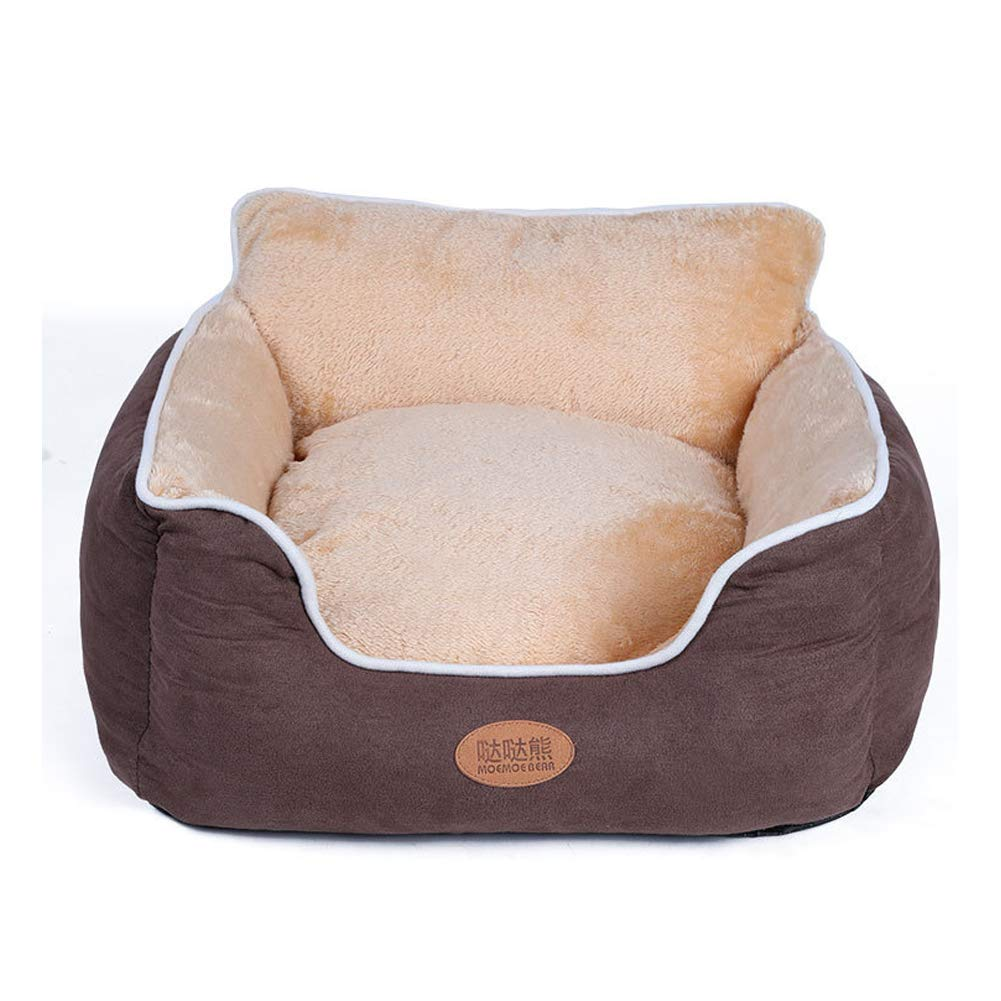 Brown Small Brown Small Pet Dog Beds Winter Warm Suede Full Washable Back Kennel