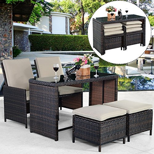 Tangkula 5PCS Brown Cushioned Ottoman Rattan Patio Set Outdoor Furniture Garden by Tangkula