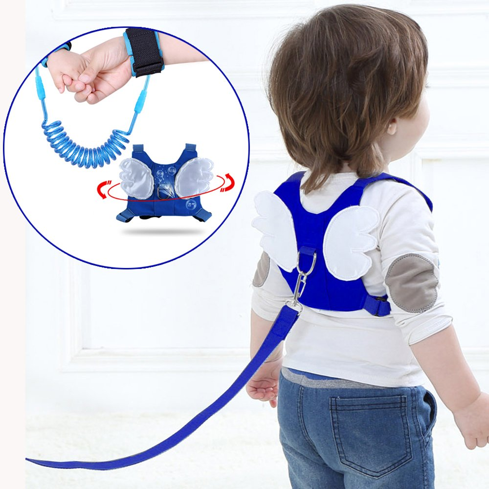 (2 kit)Anti Lost Wrist Link 2 meters Wrist Leash for Kids & Toddlers Child Safety Wristband (Blue) MPAYIXUNGS