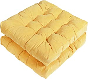 Tiita Indoor/Outdoor Cushions Square Floor Pillows for Sitting on Floor Windows Pads for Patio Furniture Set of 2, 22x22 Inch, Yellow