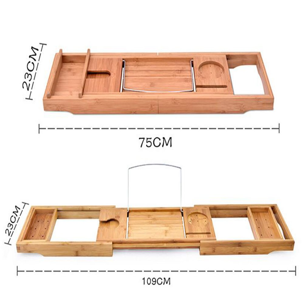 Luxury Wood Bamboo Bathtub Tray Bath Tub Caddy Tray Extending Sides Built in Wineglass Aromatherapy Candles Phone Holder Reading Rack Cellphone Tray Fit Most Tub MJ0001 by TUYU (Image #4)